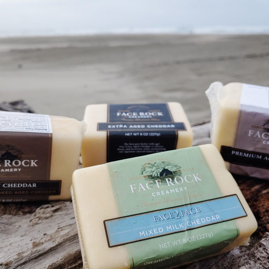 Face Rock Creamery cheeses by the beach